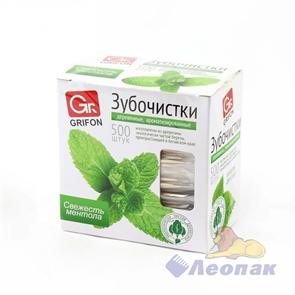 Зубочистки из дерева с ментолом в инд.  п/э упаковке (500шт/30уп) GRIFON 400-513