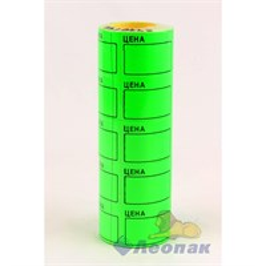 Этикет-лента 40*50 ЭКОНОМ (зеленая,прямоугольная)  5х20кмп