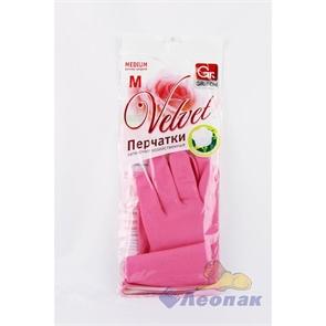 Перчатки латексные с х/б напылением роза (1пара) S 303-410