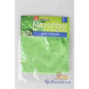 Салфетка из микрофибры 30х30см (1шт/1уп/200уп) GRIFON д/стекла арт. 900-011 зеленая