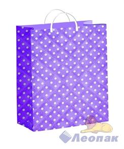 Пакет мягкий пластик с пластик.ручками 24х26   Горошек на фиолетовом  (40) ТИКО