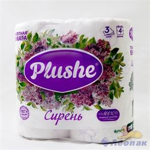 Бумага туалетная  PLUSHE Deluxe Light  Сирень 3-х сл. (4шт/12уп)