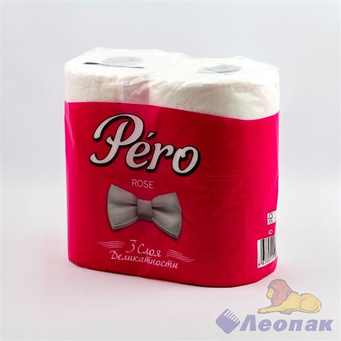 Бумага туалетная Pero ROSE 3-х сл.(4шт/21уп) - фото 10471