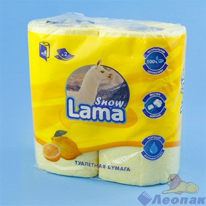 Туалетная бумага Snow Lama 2сл., желтая (4шт/12уп) - фото 16972
