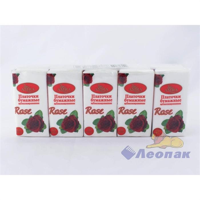Платочки бумажные  AMRA  с ароматом розы (10шт/1уп/24уп) - фото 4821