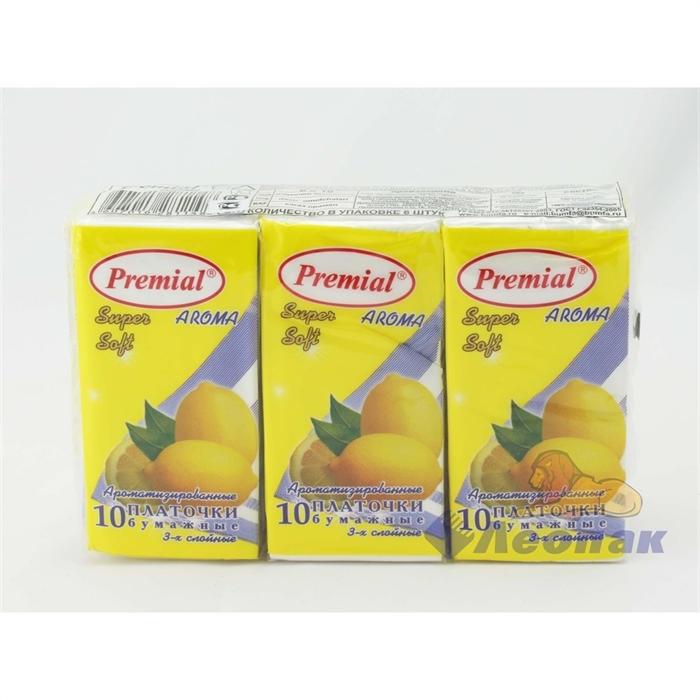 Платочки бумажные  PREMIAL  с ароматом лимон (6шт/1уп/40уп) - фото 4844