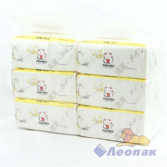 Салфетки бумажные INSHIRO EkoNeko 2-хсл. в пакете (150л./1шт/6шт/1уп/20уп) аромат. EN-429 - фото 4868