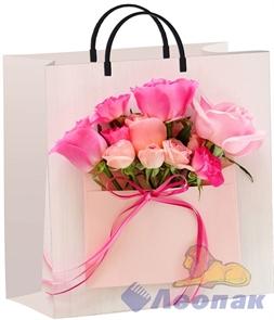 Пакет мягкий пластик с пластик.ручками 30х30   Конвертик с розами  (40) ТИКО
