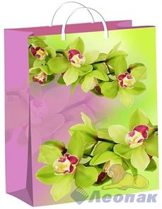 Пакет мягкий пластик с пластик.ручками 40х30   Орхидеи на зелено-розовом  (40) ТИКО