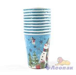 Стакан бумажный 250мл  Снеговики  (10шт/48уп) /Булгари