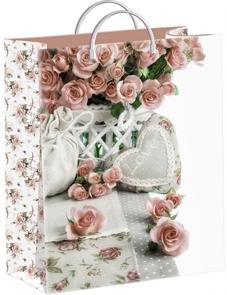 Пакет мягкий пластик с пластик.ручками 40х30   Кремовые розы  (40) ТИКО