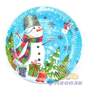 Тарелка бумажная d-230,  Снеговики  (10шт/48уп) /Булгари
