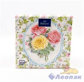 Салфетка Арт Букет  Розовый сад  (20шт/12уп) 33х33 3х-слойная