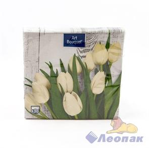 Салфетка Арт Букет  Белые тюльпаны  (20шт/12уп) 33х33 3х-слойная