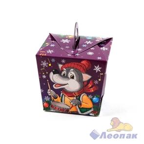 Короб д/новогодних подарков  Три поросёнка и волк  100*92*92мм (0,3кг) (100шт)
