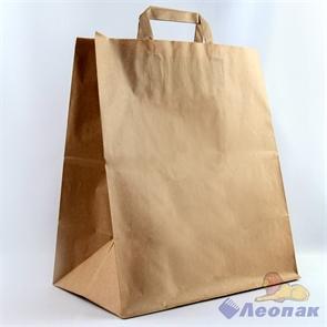 Мешок- Сумка бумажный 24х14х29см, КРАФТ, с плоскими ручками (350шт)