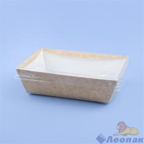Контейнер бумажный с плоской пластиковой крышкой Crystal Box 800мл, 140х180х45, Крафт (160шт) 211941