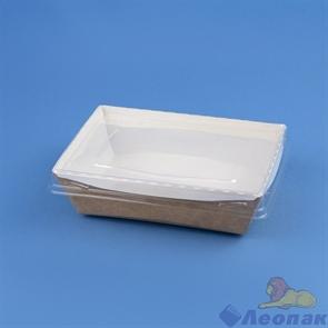 Контейнер бумажный с плоской пластиковой крышкой Crystal Box 500мл, 120х160х45, Крафт (200шт) 211934