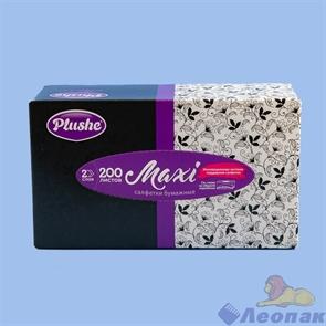 Салфетки бумажные PLUSHE MAXI  2-хсл., V-сл., АССОРТИ в коробке (200лист./1уп/25уп)