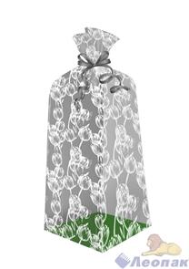 Пакет подарочный Тюльпаны 300х110(70)х30 - (еврослот)жесткое дно, ВОРР (240шт) Тико