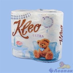 Туалетная бумага Kleo Ultra белая, 3слоя, (4шт/18уп)  Арт. С86