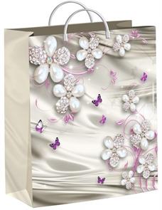 Пакет мягкий пластик с пластик.ручками 26х24   Жемчужные цветочки  (40) ТИКО