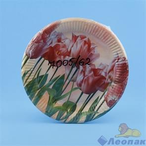 Тарелка картонная D=23см (10шт/48уп) Тюльпаны /Булгари