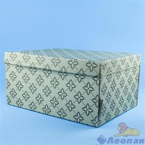 "Коробка для хранения крышка+дно ""Триумф"" белый/бурый 280х370х180, Т23Е"