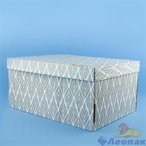 Коробка для хранения крышка+дно  Листья  серый 280х370х180, Т23Е