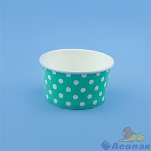 Креманка бумажная 160 мл  Complement салатовая в белый горошек  (50/1000)   d=85 мм