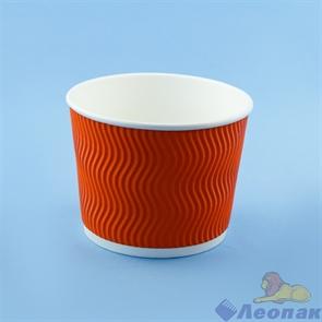 Контейнер бумажный Complement 520 мл d=110мм, h=84,5мм, гофрированный оранжевая волна (25/500)