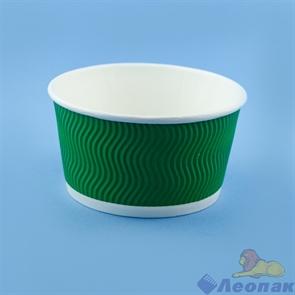 Контейнер бумажный Complement 720 мл d=135мм, h=68мм гофрированный зеленая волна (25/500)