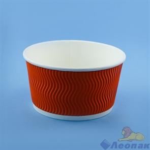 Контейнер бумажный Complement 720 мл d=135мм, h=68мм гофрированный оранжевая волна (25/500)
