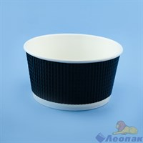 Контейнер бумажный Complement 720 мл d=135мм, h=68мм гофрированный черный, пунктир  (25/500)