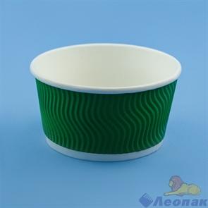 Контейнер бумажный Complement 380 мл d=110мм, h=60мм гофрированный зеленая волна (25/500)