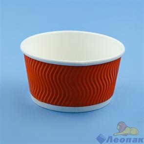 Контейнер бумажный Complement 380 мл d=110мм, h=60мм гофрированный оранжевая волна (25/500)