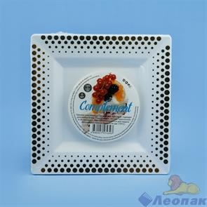 Тарелка Complement квадратная PS белая золотой декор 165х165 мм (6шт/40уп)