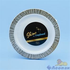 Тарелка Complement пластиковая белая с серебряной ажурной каймой d=190мм(12шт/20уп)
