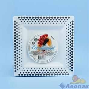 Тарелка Complement квадратная PS белая серебряный декор 165х165 мм(6шт/40уп)