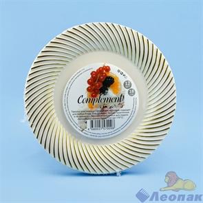 Тарелка Complement пластиковая бежевая с золотой волной d=180мм (12шт/20уп)