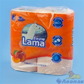 Туалетная бумага Snow Lama 2сл., персиковая (4шт/12уп)