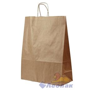 Мешок- Сумка бумажный 31х19,5х34см, КРАФТ, с кручеными ручками (200шт)