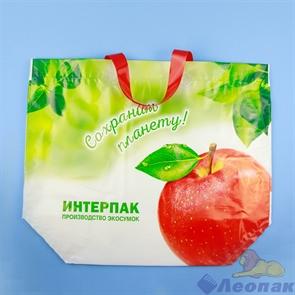 """Эко сумка петл.ручка 50х40-160мкм """"Яблоко"""" ПВД (10/100) Новосибирск"""