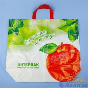 """Эко сумка петл.ручка 60х50-160мкм """"Большое яблоко"""" ПВД (10/100) Новосибирск"""