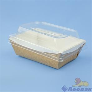 Контейнер бумажный с купольн пластиковой крышкой Crystal Box 400мл, 100х140х70, Крафт (550шт)