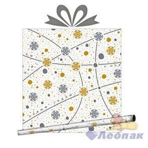 Бумага оберточная металлизированная 0,685*10м  Новогодняя вуаль   (10рул.) / Интер