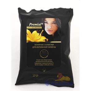 Салфетка влажная  Premial  для интимной гигиены с экстратом лилии (20шт/1уп/24уп)