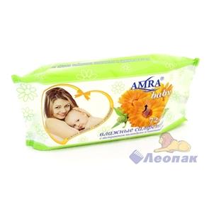 Салфетка влажная  AMRA  для детской гигиены (72шт/1уп/9уп)