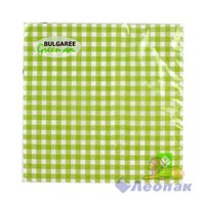 Салфетка  Клетка зеленая (20шт/15уп) 33х33 3х-слойная /Булгари