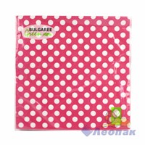 Салфетка  Горох на розовом  (20шт/15уп) 33х33см  3х-слойная /Булгари